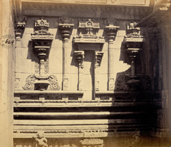 Close view of sculptural details on wall of Jalakanteshvara Temple, Vellore 2589